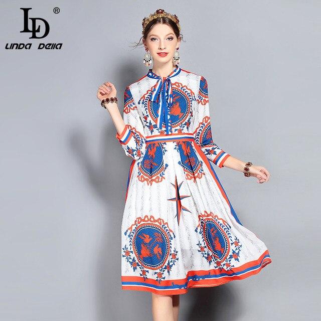 LD LINDA DELLA New Fashion Designer Runway Dress Women's Long Sleeve Bow Collar Gorgeous Printed Party Vintage Dress