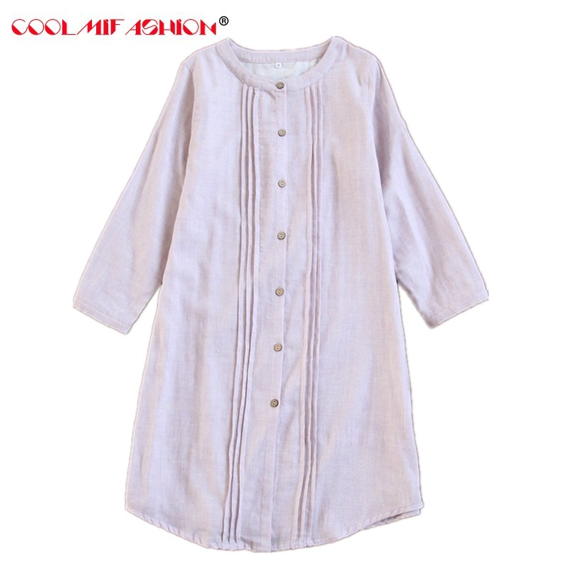 Women   Nightgowns   &   Sleepshirts   spring long sleeve Gauze Cotton thin summer autumn home clothing female sexy lingerie sleepwear