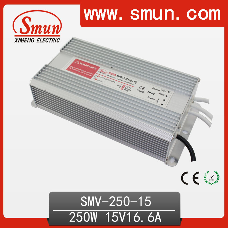 250W 15V 16.6A Outdoor Waterproof IP67 Switching Led Driver Led Power Supply With CE RoHS SMV-250-15 лежанки для животных оптом