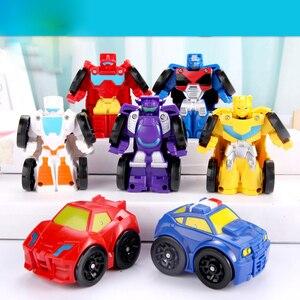 Image 4 - Cartoon Transformation Robot Action figur Spielzeug Mini Autos Roboter Klassische modell Spielzeug Für Kinder Geschenke Brinquedos