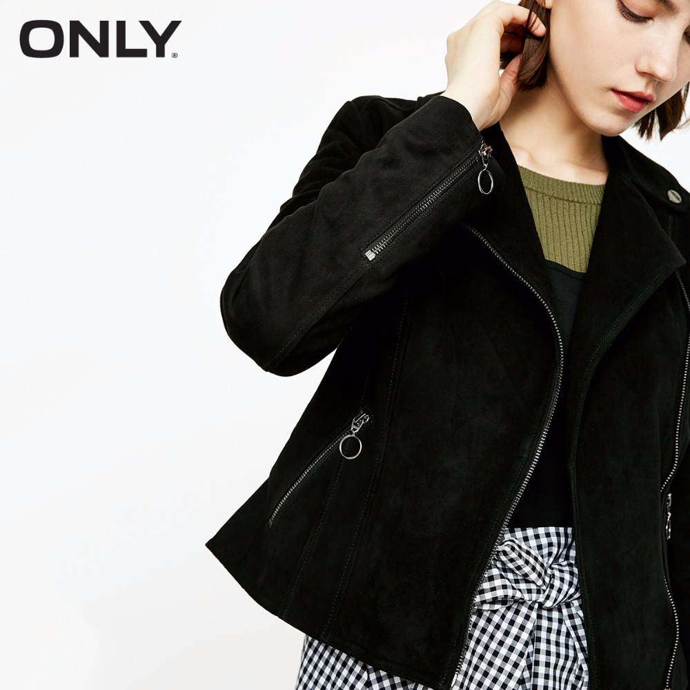 ONLY  Women's Suede Slim Fit Zipped Cuffs Short Jacket |118310501