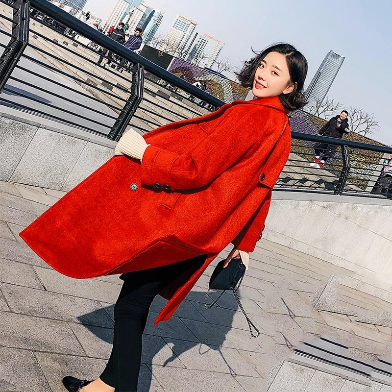 Casaco Femme Feminino red Épaississent Inverno Lx1889 Laine Ayunsue caramel Blue oat Vestes Manteau Breasted Femmes 2018 black Double Manteaux Long Élégant qp5Cx66wd