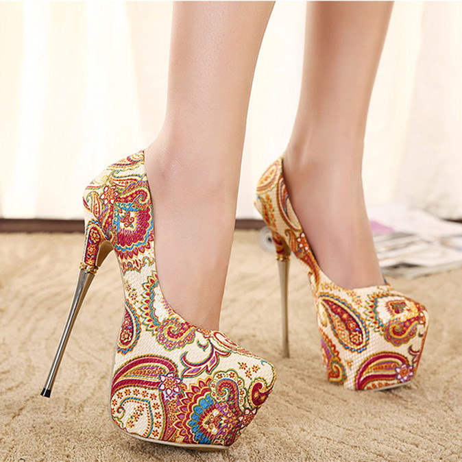 9bfbbd319d90e2 CooLcept Floral HYA21 bayan ayakkabi 16cm high heel shoes women lady sexy  dress Sexy Party heels platform shoes pumps size 35 40-in Women s Pumps  from Shoes ...
