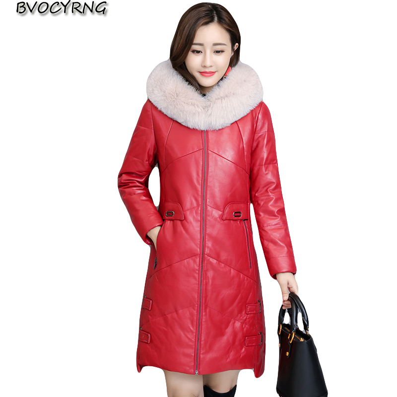 New Winter PU   Leather   Coat Women Thicken Down Cotton   Leather   Parkas Women High Quality Fox Fur Jacket Female Winter Warm Coats