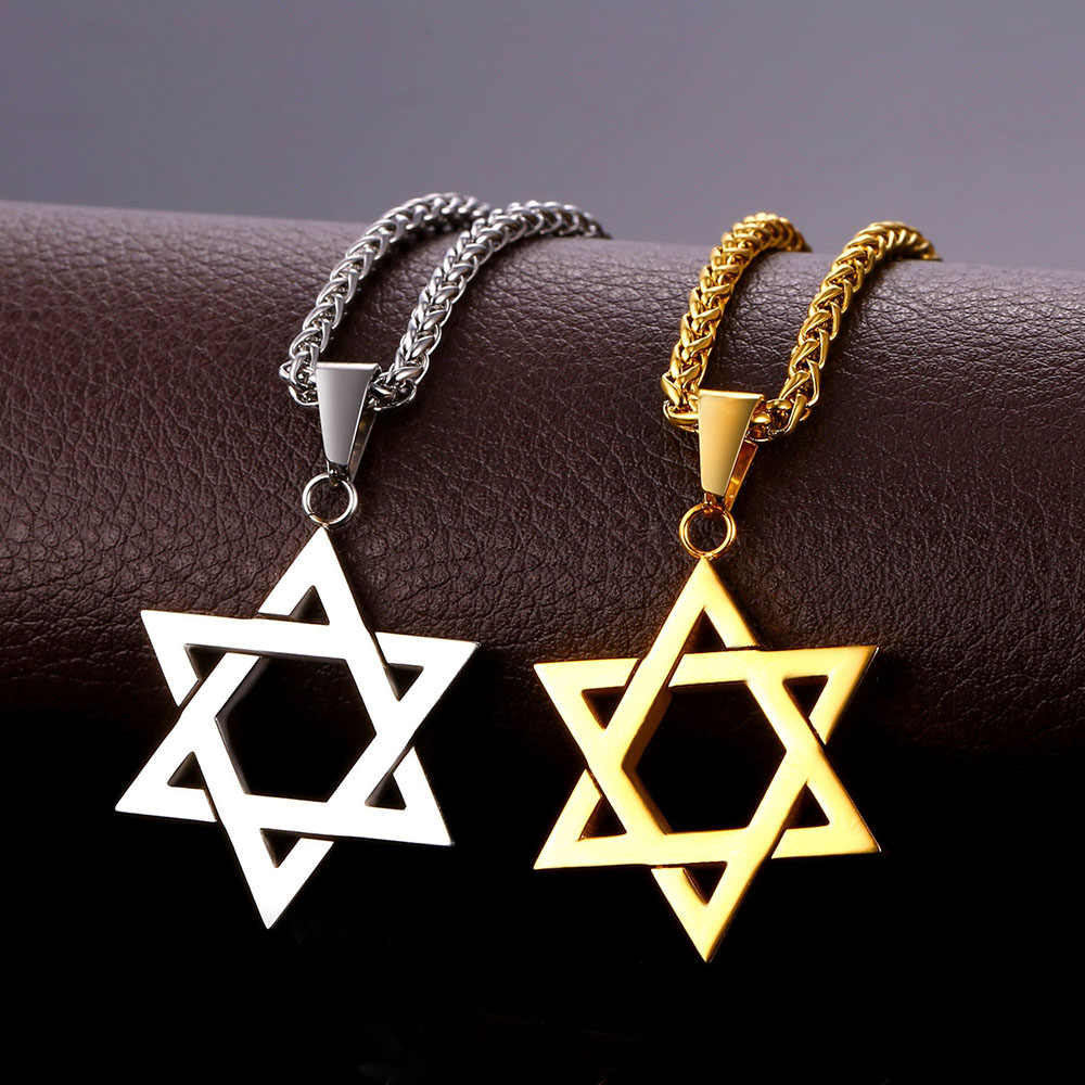 David Star Charm necklace with Chain Stainless steel Hexagram Star of David pendants Gold Color Jewish jewelry for men P286