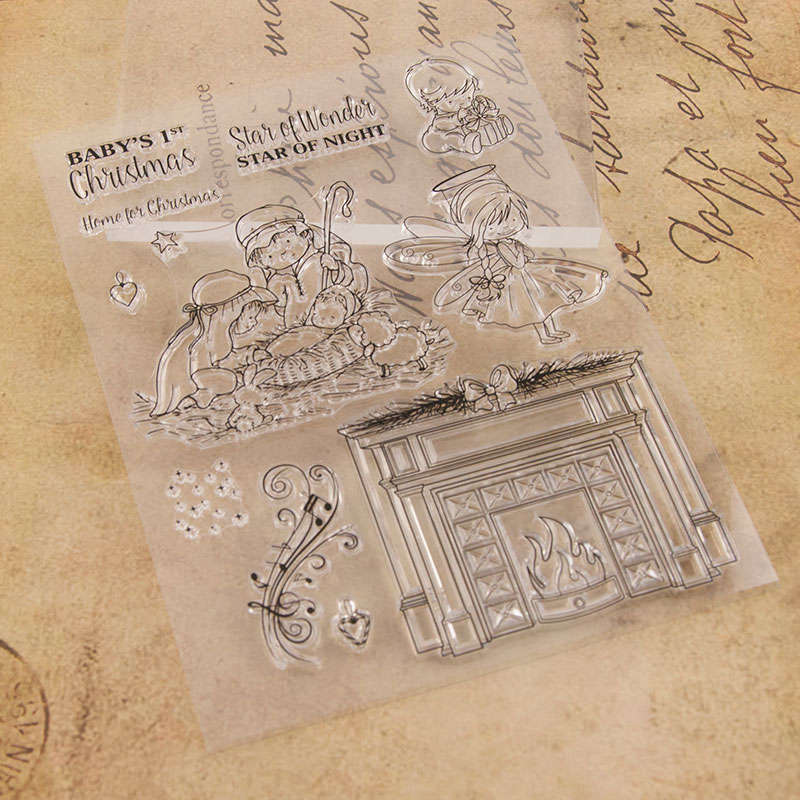 Baby 39 s 1st Christmas Night Clear Stamps for Scrapbooking DIY Silicone Seals Photo Album Embossing Folder Paper Maker Template in Stamps from Home amp Garden