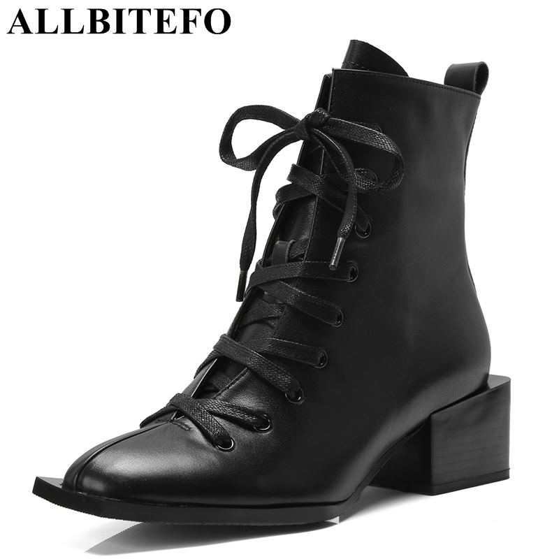 все цены на ALLBITEFO new fashion brand genuine leather thick heel women boots high heels ankle boots winter women martin boots girls shoes онлайн