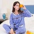 Primavera e no Outono de algodão nobre senhora pijamas dedução mais fertilizantes para aumentar o código de longa-serviço de casa de manga comprida ternos