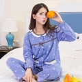 Spring and Autumn cotton noble lady pajamas deduction plus fertilizer to increase the code long - sleeved home service suits