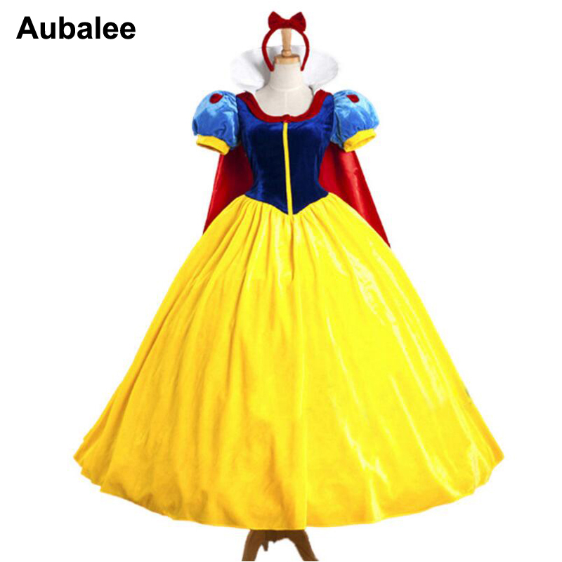 Snow White Costume Women Adult Princess Dress Party Carnival Cartoon Fairy Tale Fantasias Princess Cosplay Long Dress
