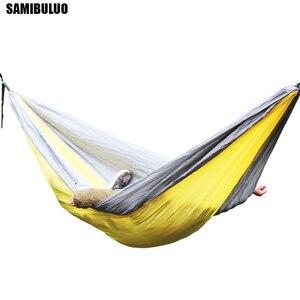 Image 1 - SAMIBULUO na świeżym powietrzu wysokiej jakości dorosłych trwałe spadochron Camping hamak z opaska na drzewo podwójne