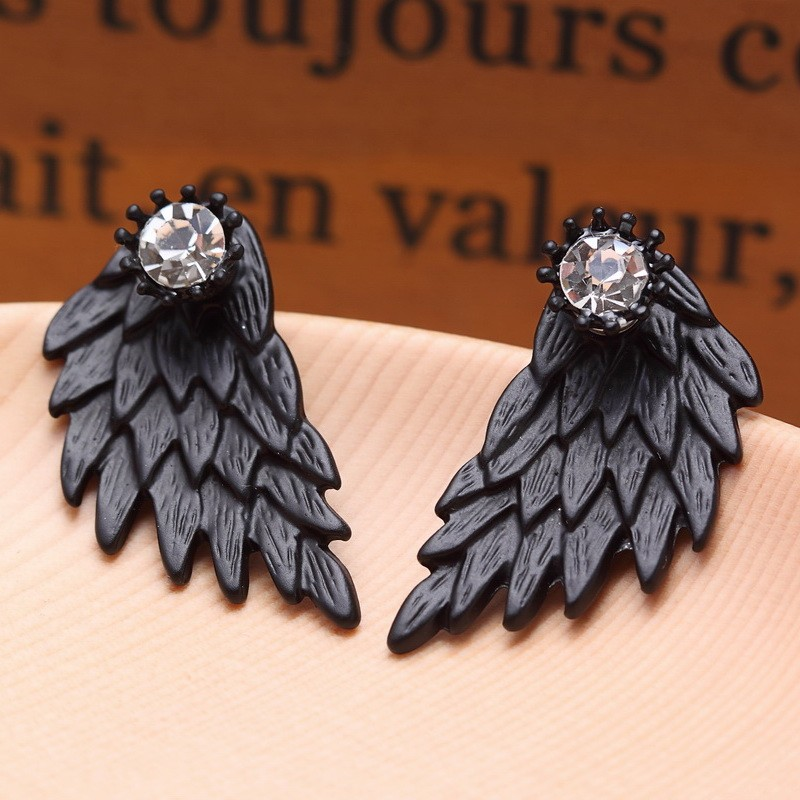 Black Gold Silver Plated Gothic Angel Wings Rhinestone Alloy Stud Earrings 3