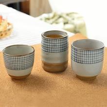 Керамическая чашка для супа, грубая керамика, ручная роспись, Рисунок решетки, чайная чашка, оригинальная кофейная чашка, винные чашки