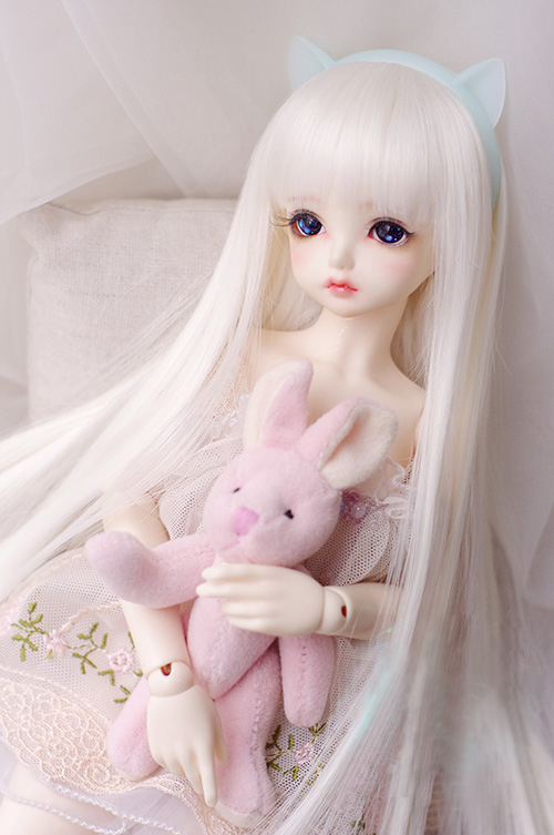 BJD Doll Wigs Milk White Straight Bang Long Straight Hair Wigs For 1/3 1/4 1/6 1/8 BJD DD SD YOSD Doll High-temperature Wire Wig