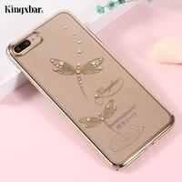 KINGXBAR para Apple iPhone 8 Plus hoesje, 7 Plus Caso de Lujo Del Diamante Decorado Cubierta Dura Del Teléfono Funda para i7 i8 Más Bolsa de Conchas