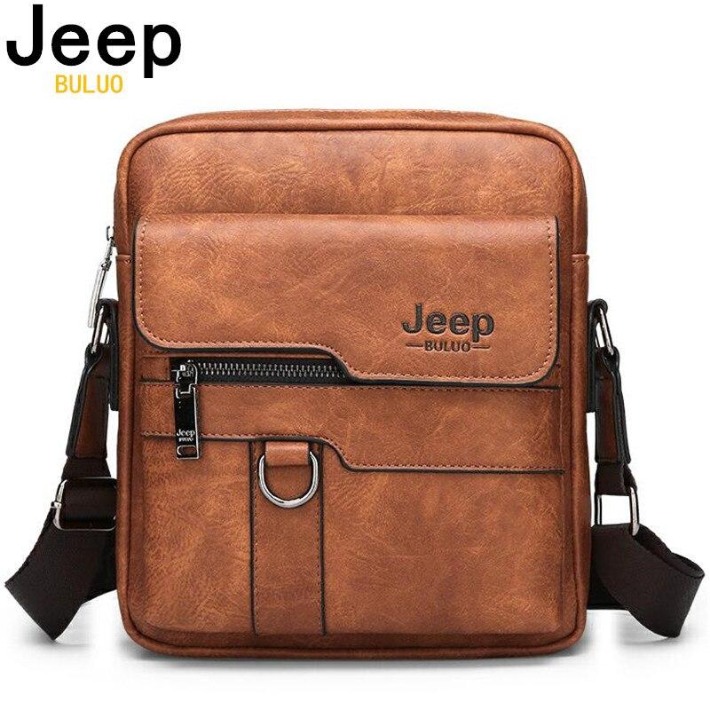 2b0360426 JEEP BULUO de lujo de los hombres de la marca de bolsas de mensajero bolso  Casual y de negocios bolso hombre divisor de bolso de hombro de cuero de  gran ...
