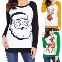 Autumn Winter Long Sleeve Christmas T Shirt Women Christmas Deer Santa Claus Printed T Shirt Female kawaii Patchwork Tees Femme