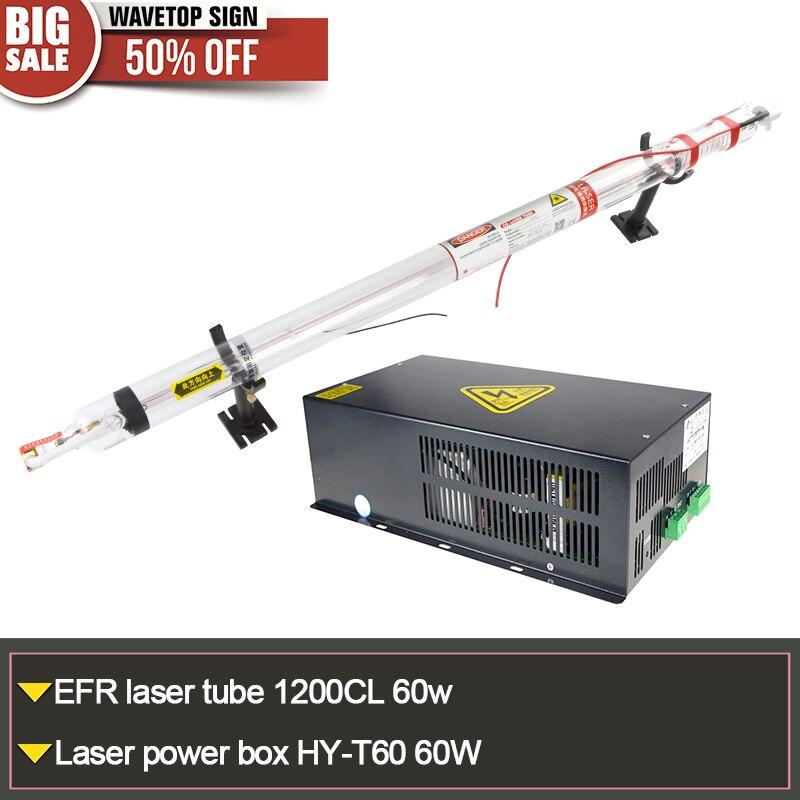 EFR laser tube 1200CL 60W + laser power box HY-T60 60W or MYJG 60W tube length 1200mm diameter 55mm tl laser tube 60w length 1250mm diameter 55mm 1pcs laser power box hy t60 60w