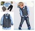 New Boys Clothing Sets Spring Autumn Gentleman Style Boys Long-Sleeve Shirt+Vest+Denim Pants 3pcs Children Clothes Set for 2-7Y