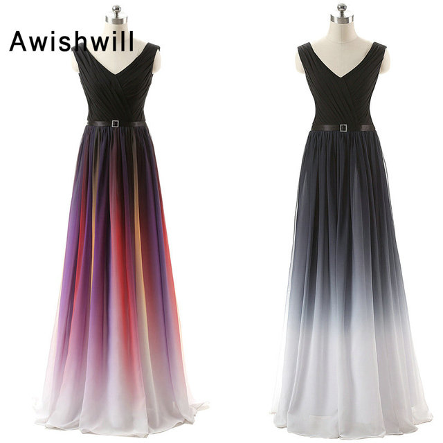Real Picture Women Maxi Dress African Formal Dresses Gradient Ombre ...