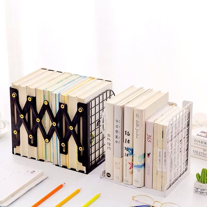 1PC Creative Rabbit Cat Grid Metal Adjustable Reading Book Bookends Stand Holder Bookshelf Document Magazine Organizer Holder in Bookends from Office School Supplies