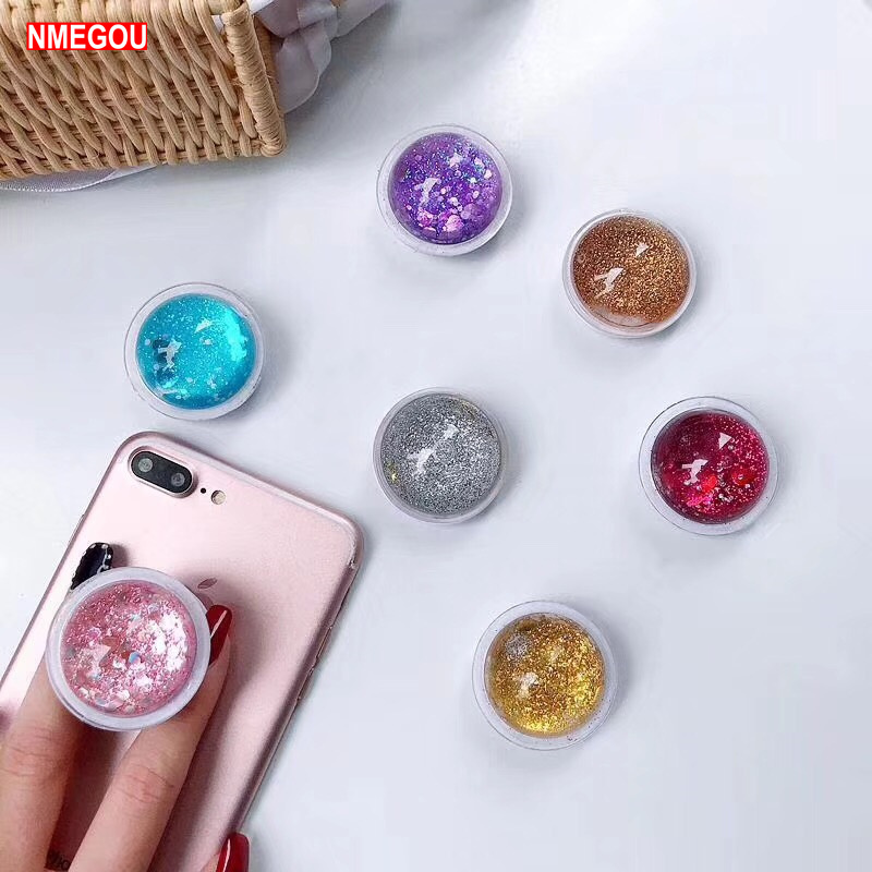 Pocketsocket Glitter Quicksand Finger Grip Phone Holder For IPhone X 7 XS Samsung S10Pocket Socket Air Bag Cell Bracket Stand