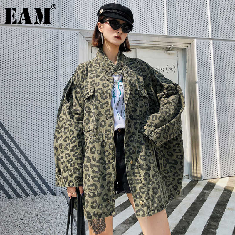 [EAM] 2019 New Autumn Winter Stand Collar Long Sleeve Camouflage Printed Loose Big Size Jacket Women Coat Fashion Tide JY284