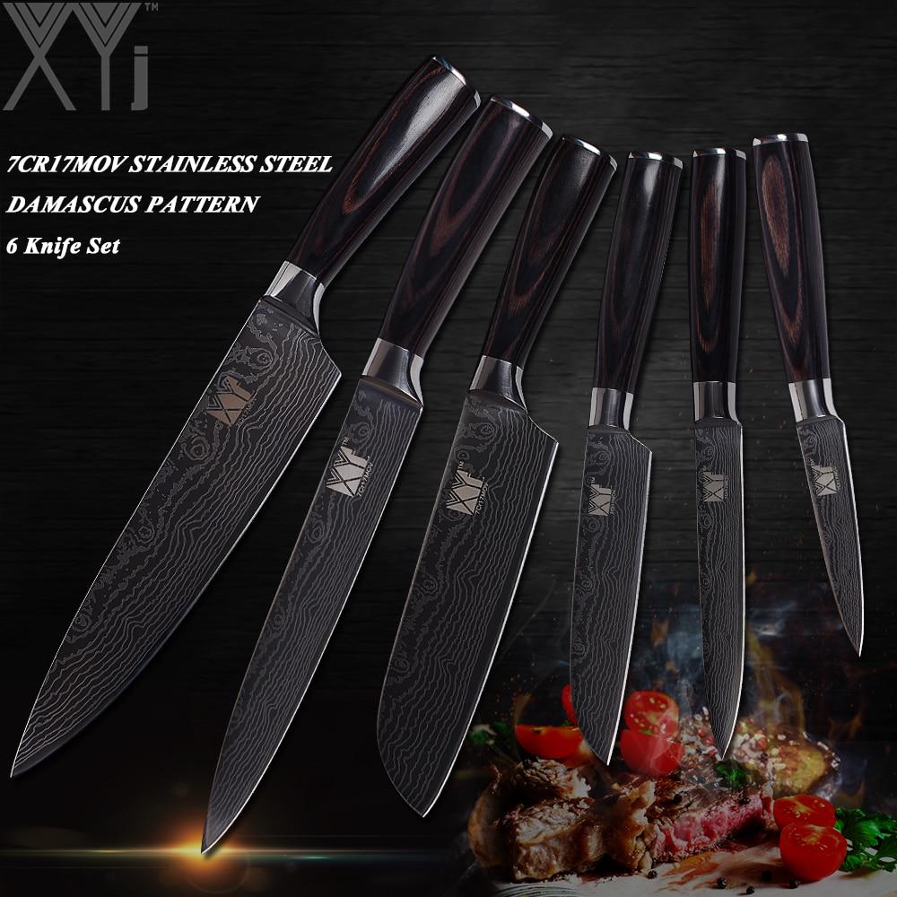Ev ve Bahçe'ten Bıçak Setleri'de XYj 6 Parça Setleri Mutfak Bıçakları Yüksek Karbonlu Paslanmaz Çelik Bıçak Ahşap Saplı Mutfak Bıçağı 3.5, 5, 5, 7, 8, 8 inç Şef bıçağı'da  Grup 1