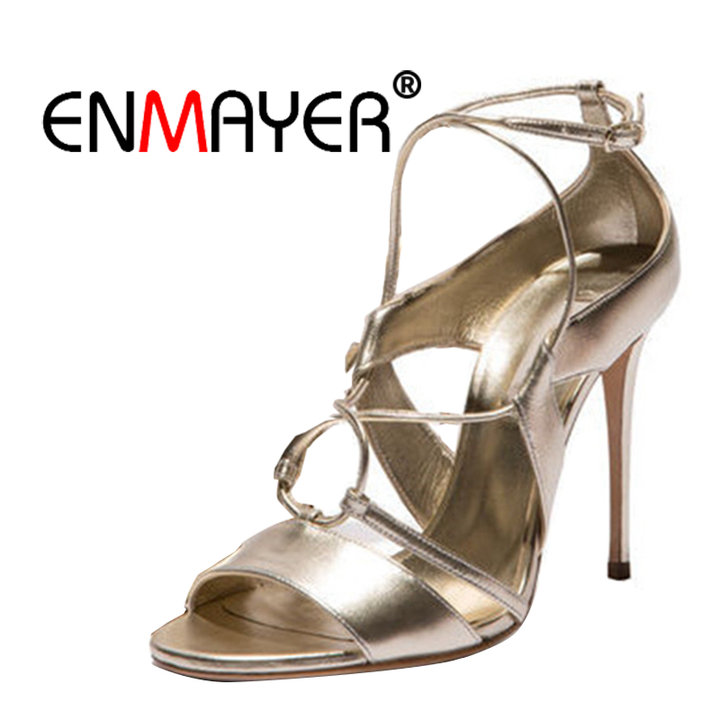 цена на ENMAYER Women High Heels Sandals Buckle Strap Sex Woman shoes Summer 2018 Peep Toe Hollow Sandals Lady Gladiator Party Shoes CR2