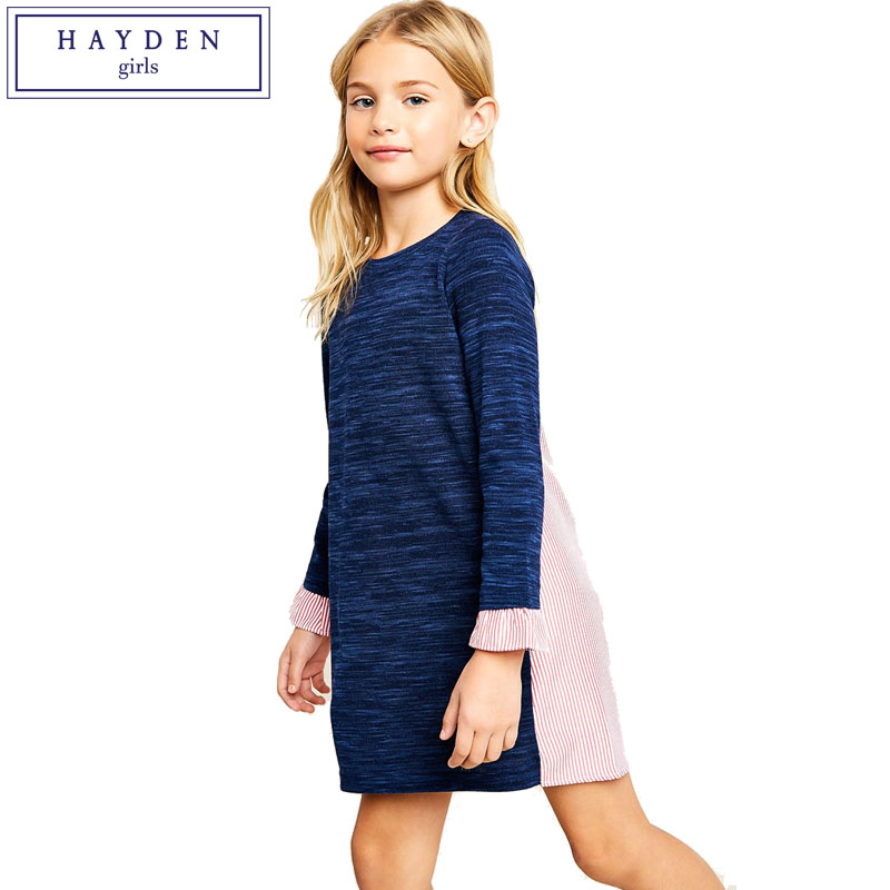 HAYDEN Girls Sweatshirt Dress Long Sleeve Contrast Dresses for Big Teenager Girl Kids Spring Clothes 2018 New Brand Clothing коляска mr sandman prima люлька 100% эко кожа темно синий kmsp100 073407