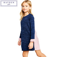 HAYDEN Girls Sweatshirt Dress Long Sleeve Contrast Dresses For Big Teenager Girl Kids Spring Clothes 2018
