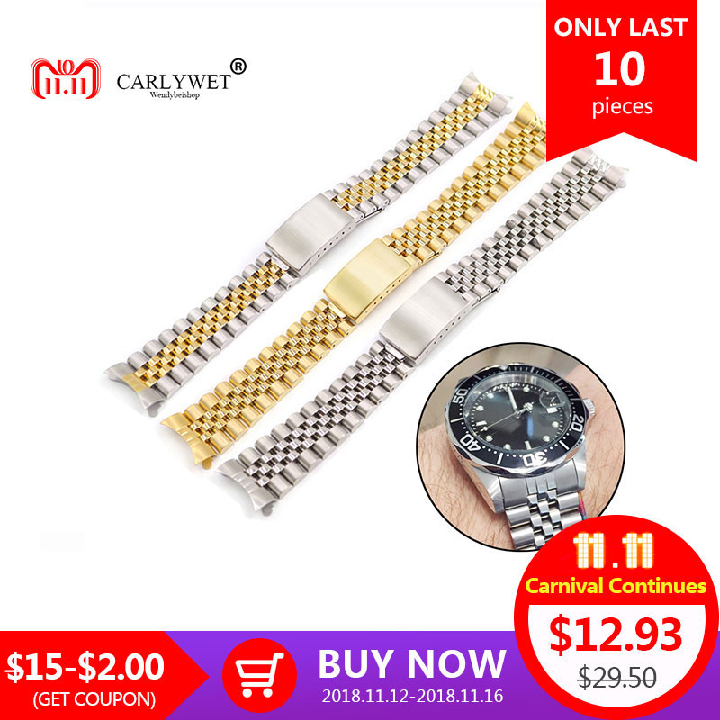 все цены на 19 20 22mm Two tone Hollow Curved End Solid Screw Links Replacement Watch Band Old Style VINTAGE Jubilee Bracelet For Datejust