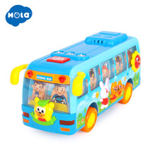HOLA 908 Baby Toys Bump & Go Shaking School Bus with Music & Flashing Lights Electric Toys for Children Birthday Xmas Gift(China)