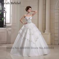 Luxury White Crystal Beading Teried Long Wedding Dresses 2015 Real Sample Fashion Sleeveless Bridal Dress Custom