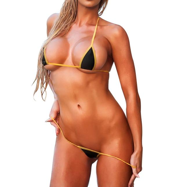 Seksual Micro G-String Bikini 2pc Mini Üzmə Sujeti Həddindən - İdman geyimləri və aksesuarları - Fotoqrafiya 2