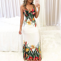 Women 2018 Summer Fashion Elegant Long Party Dress Female Tunic Floral Print Spaghetti Strap Deep V Slip Boho Maxi Dress