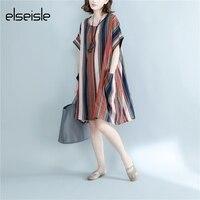 elseisle Wave Striped Dress Linen Cotton Vintage Summer Dress With Black And White Stripe Boho Dresses Plus Size Robe Stripes