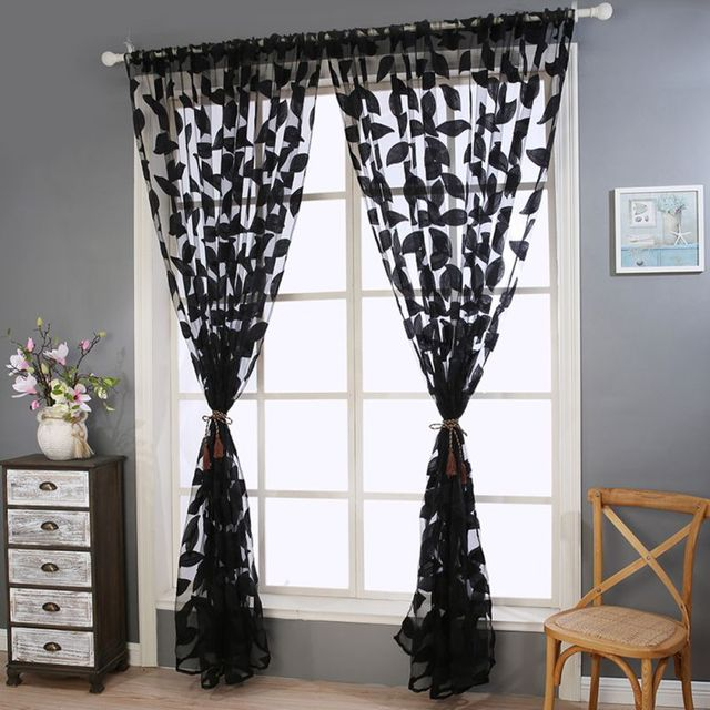 2017 Tulle Leaves Fabric Curtains For Living Room Drapes Translucent Bedroom Kitchen Dining