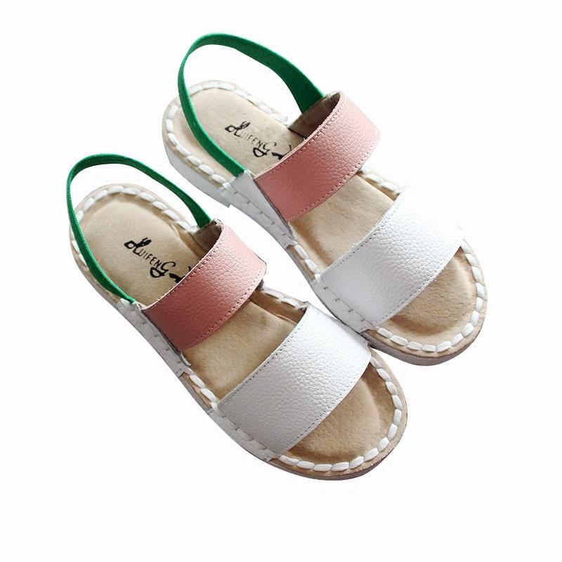 Green CuirChaussures Faites Art Sandales Pink Huifengazurrcs White white Black Mori PuresLe Appartements véritable Rétro Fille ChaussuresLittérature Décontractées Main beige En A4RjLq35