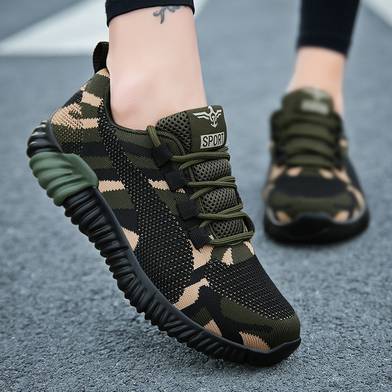 Camouflage Women Fashion Sneakers Flying Knitting Flat With Casual Shoes Plus Size 35-44 Sport Breathable Women Trainers XU019
