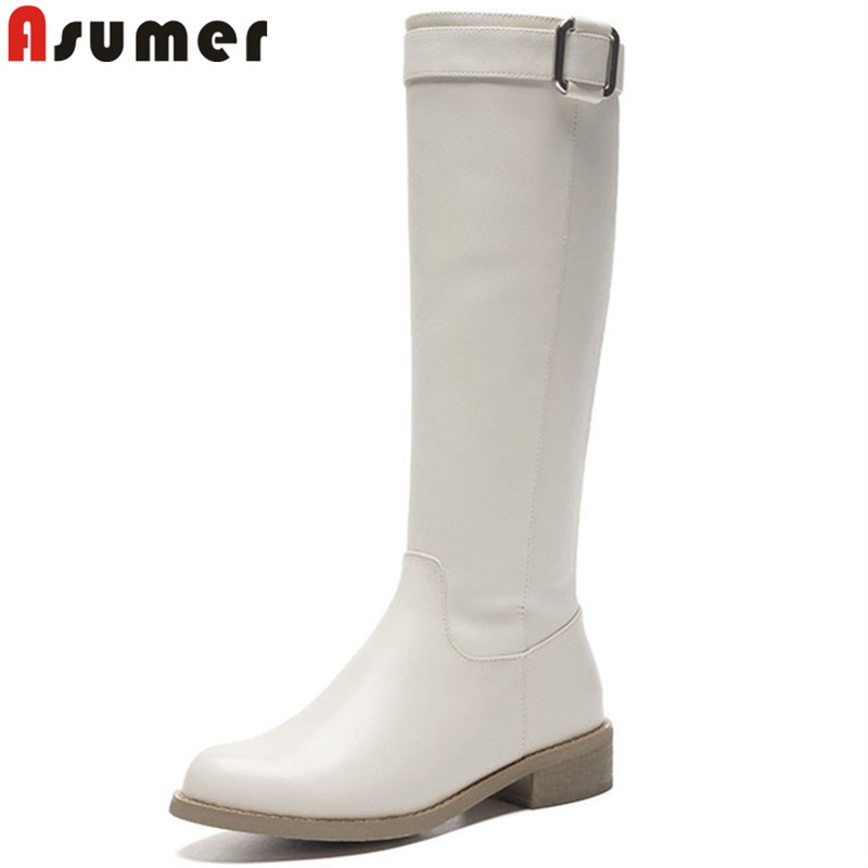 ASUMER 2018 fashion hot sale new knee high boots round toe zip pu+cow leather boots med heels buckle ladies boots black