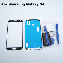 Black Front Outer Glass Lens for Samsung Galaxy S4 SIV S 4 S IV i9500 GT-I9505 +3M sticker + Tool Kit Cellular Parts
