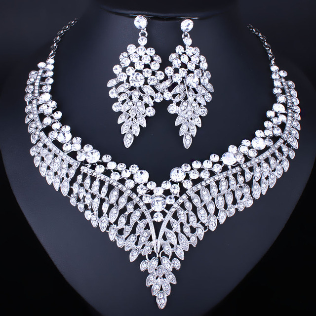 FARLENA Jewelry Silver Plated High Quality Clear Crystal Rhinestone  Necklace Earrings set for Women Wedding Indian jewelry set ae90ed6ea228