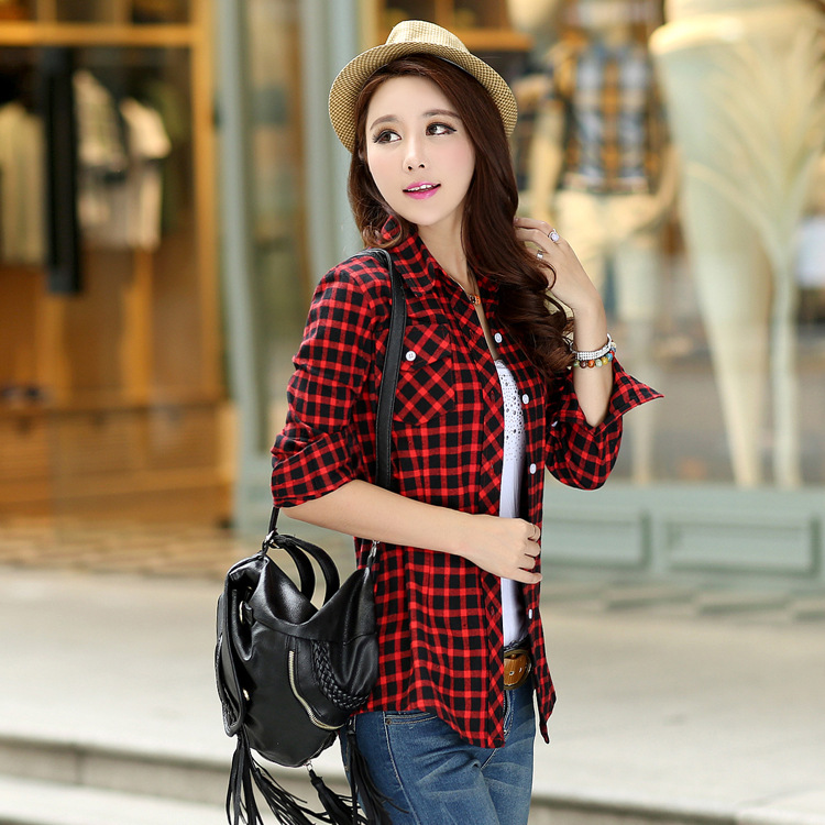 Online Shop 2015 New Casual Button Down Lapel Neck Plaids Checks ...