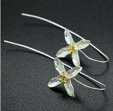 2015 New arrival trendy promotion gift long flower 925 pure silver female earrings jewelry wholesale Valentines Gift