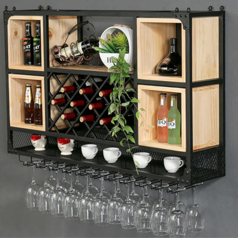 Wine Rack Wall Hanging Cabinet Shelf Wrought Iron Wood