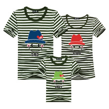 Family Shirts 2016 Men Striped Green T Shirt Harajuku T-shirt Sport Clothing Skate Anime Tshirt Homme Polera Mother Kids Outfits