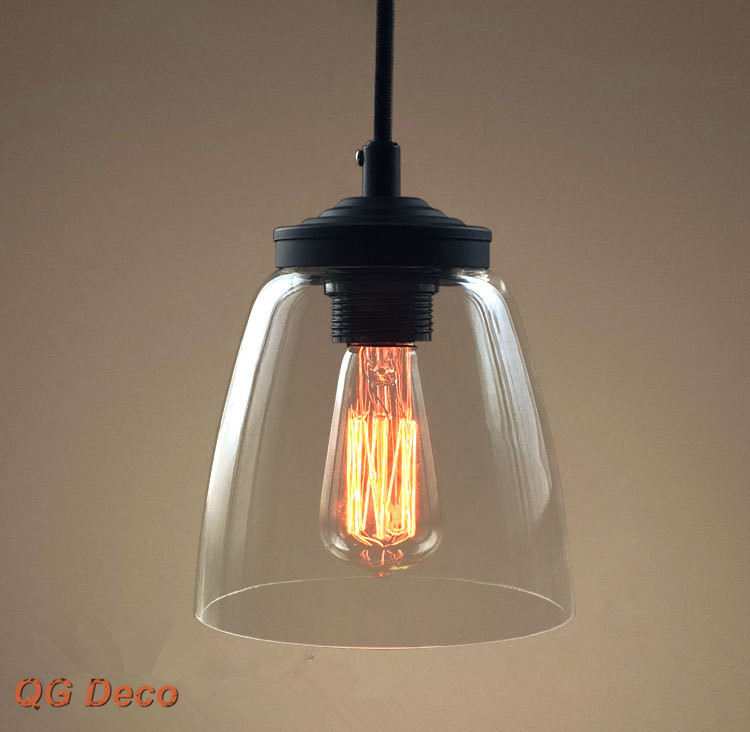 Vintage industrial modern clear glass pendant light rustic for Modern island pendant lighting
