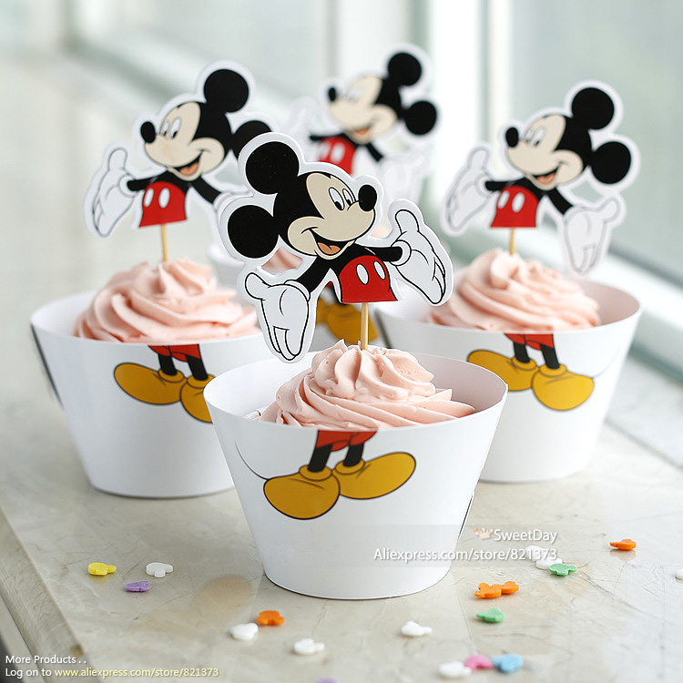 Free Shipping <font><b>Mickey</b></font> <font><b>Mouse</b></font> cupcake wrappers party supplies baby shower decoration for kids <font><b>birthday</b></font> favor cake <font><b>cup</b></font> toppers picks