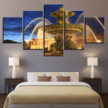 Modern Canvas Painting Wall Art Pictures 5 Pieces Statue Fountain Castle Night View Home Decor Living Room HD Print Poster Frame